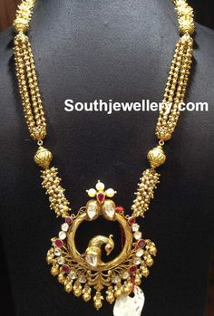 Antique Gold Long Chain with Peacock Pendant