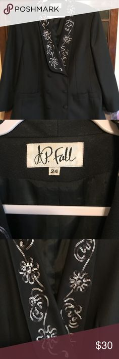 🌺JP Fall Blazer with Skirt🌺 Very nice Black and White Blazer and Skirt Suit with embroidery.  EUC and worn a few time and laundered as per instructions.  No rips, tears and stains.  If you have questions please ask before purchase. JP Fall Skirts Skirt Sets