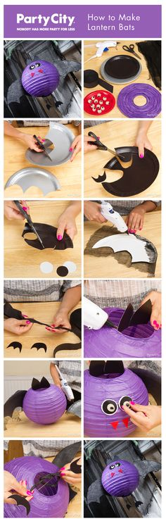 How to make DIY vampire bats from paper lanterns ... adora-boo for Halloween! Click for our step-by-step pictorial tutorial.