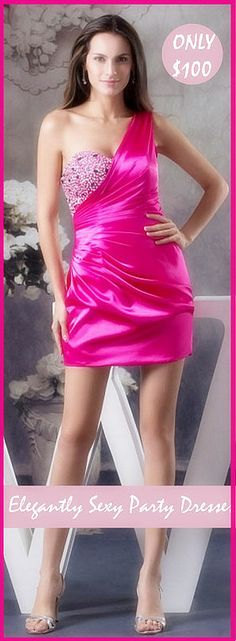 Pink Off-shoulder Mini Dresses are ALL THE BUZZ!  http://www.weddingdresstrend.com/en/buy/9874