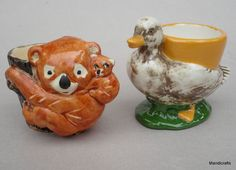 Vintage Koala Bear and Goose Egg Cup Holders Cup Holders, Candle Holders, Vintage Egg Cups, Egg Coddler, Cute Egg, Toast Rack, Soft Boiled Eggs, Deviled Eggs, Roosters