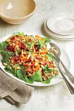 Monday, October 5 - A Month of Quick-Fix Suppers - Southernliving. Recipe: Peas and Kale Salad with Bacon Vinaigrette  This fresh and savory salad is a winner year-round.