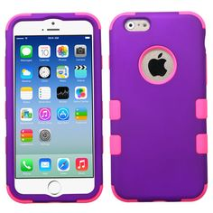 Purple, Hot Pink Rubber Hybrid Impact Defender Case For iPhone 6.