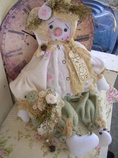 "Primitive Prim OOAK Folk Art Snowman Snowwoman Doll ""Petals"" Must See!!! #NaivePrimitive #Whimsicalcorner THIS DOLL IS NOW AVAILABLE ON eBAY!!!! THANK YOU!! SOLD"
