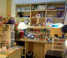 @Cynthia Stevenson art studio  I like the pegboard idea to slip into the back panel of my bookcase unit :))