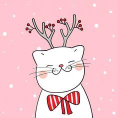 Нарисуйте белую кошку с шарфом красоты в сн. Dibuja un gato blanco con un pañuelo de belleza en la nieve para la temporada de invierno Premium Vector Christmas Doodles, Christmas Drawing, Diy Christmas Cards, Xmas Cards, Christmas Decorations, Christmas Rock, Christmas Cats, Hygge Christmas, Merry Christmas