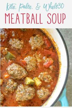 This keto. This keto meatball soup is easy to prepare, hearty, and loaded with fresh veggies and flavor. Best of all, the meatballs can be made ahead of time and it freezes nicely. Low Carb Recipes, Cooking Recipes, Paleo Keto Recipes, Low Carb Soups, Paleo Diet, Slow Cooker Keto Recipes, Whole30 Soup Recipes, Ketogenic Recipes, Low Carb Chili