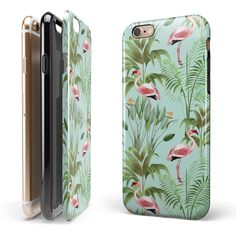 4ca8240d67c66 The Tropical Flamingo Scene iPhone 6 6s or 6 6s Plus 2-Piece Hybrid  INK-Fuzed Case