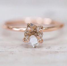 Solid Rose Gold Herkimer Quartz Ring ♥️ www.indieandharper.com