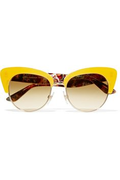 Gold-tone metal, yellow acetate 100% UV protection Come in a designer-stamped case and presentation box Made in Italy
