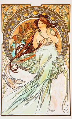 ABOUT THE ARTIST Alphonse Mucha (1860-1939) Movement: Art Nouveau Although it enjoys great popularity today, at the time when he died, Mucha's style was considered outdated. Mucha's works frequently featured beautiful healthy young women in flowing vaguely Neoclassical looking robes, often surrounded by lush flowers which sometimes formed haloes behind the women's heads. The artists …