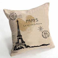 Ojia Vintage Stamps Style 18 X 18 Inch Cotton Linen Decorative Throw Pillow Cover Cushion Case, Paris French Eiffel Tower, http://www.amazon.com/dp/B00FMI4KUG/ref=cm_sw_r_pi_awdm_iZyVtb0WMD0XJ