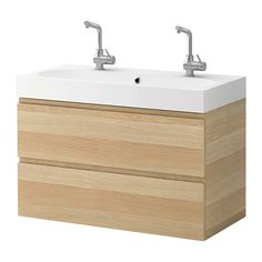IKEA - GODMORGON / BRÅVIKEN, Sink cabinet with 2 drawers, white stained oak effect, 39 3/8x19 1/4x26 3/4