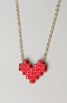 The Pixelated Heart Necklace in Rose Gold by *The Extras | Karmaloop.com - Global Concrete Culture - StyleSays