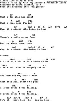 Song Lyrics with guitar chords for Almost Like Being In Love - Frank Sinatra, 1943