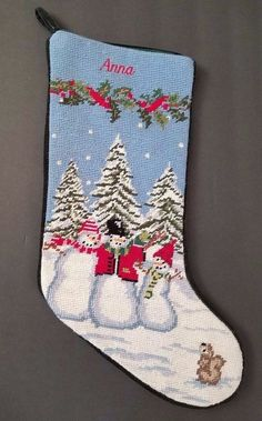 Christmas Stocking Needlepoint Anna Monogrammed Snowman Lands End #LandsEnd #Needlepoint