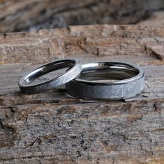 Stray away from ordinary rings with this Gibeon Meteorite wedding band set for him and her...