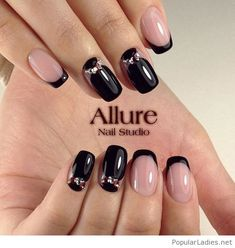 nude-and-black-gel-nails-design-with-some-nice-details
