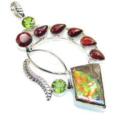 $91.25 Big!! Amazing Design Of Ammolite Sterling Silver Pendant at www.SilverRushStyle.com #pendant #handmade #jewelry #silver #ammolite