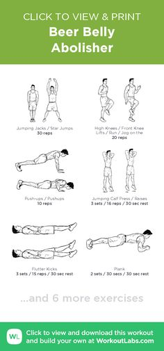 Beer Belly Abolisher – click to view and print this illustrated exercise plan created with #WorkoutLabsFit