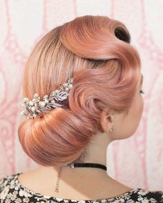 Vintage Hairstyles Updo Repost from - Another look I taught in Tennessee. The chignon was created using hair padding and an elastic for an extra sleek look. I finished with Vintage Hairstyles, Up Hairstyles, Wedding Hairstyles, Hairstyle Ideas, Gatsby Hairstyles, Vintage Wedding Hair, Short Wedding Hair, Chic Wedding, Wedding Veils