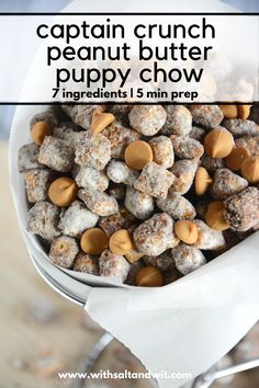 If you have wondered how to make puppy chow, this easy peanut butter puppy chow is for you! Captain Crunch cereal and peanut butter chips are added for not only a kid friendly dessert but also an easy desserts for a crowd! Snack Mix Recipes, Cereal Recipes, Healthy Dessert Recipes, Party Recipes, No Bake Chocolate Desserts, Chocolate Crunch, Healthy Chocolate, Chocolate Ganache, Chex Mix