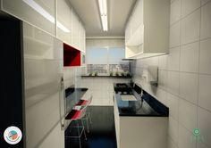 Projeto do escritório Atelier da Reforma.  Apartamento Parada Inglesa - Cozinha fechada