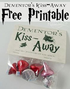 Pieces by Polly: Free Harry Potter Themed Printable - Dementor& Kiss-Away -., DIY and Crafts, Pieces by Polly: Free Harry Potter Themed Printable - Dementor& Kiss-Away - Valentine or Party Favors. Harry Potter Halloween, Harry Potter Parties, Baby Harry Potter, Harry Potter Baby Shower, Natal Do Harry Potter, Harry Potter Navidad, Harry Potter Motto Party, Harry Potter Fiesta, Harry Potter Weihnachten
