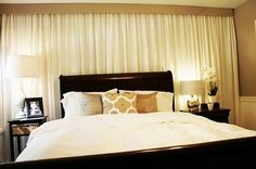 Bedroom Curtain Ideas As Well As Curtains Behind Bed On ...