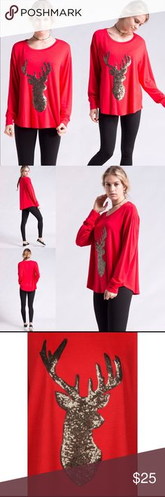 Red Sequined Reindeer Top This top boasts a glittering reindeer motif, super soft fabric, loose fitting and very comfortable to wear!  Pair with leggings, skinny jeans or jeggings and you're all set for holiday fun and cheer!   Shirt comes new in packaging   Sequined Reindeer French Terry Top  Shirt - Red  Sequins - Bronze  Available in Small and medium Fashionomics Tops Tees - Long Sleeve