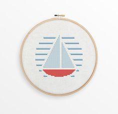 Sailboat Cross Stitch Pattern  Modern Nautical Counted Cross