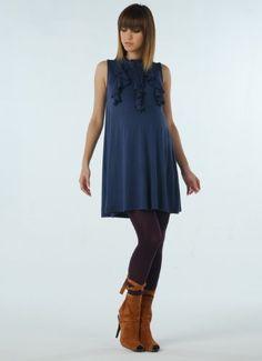 Amazon.com: Women's Lauren Kiyomi Sleeveless Front Ruffle Mini Dress/Tunic (Maternity): Clothing