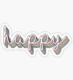 """Happy rainbow pastel"" stickers by divinefemme Tumblr Stickers, Phone Stickers, Cool Stickers, Printable Stickers, Planner Stickers, Happy Stickers, Macbook Stickers, Printable Quotes, Wallpaper Stickers"