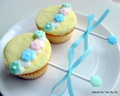 These are baby rattle cupcakes for a baby shower. My friend was attending a baby shower for her friend and asked me to make some cupcakes for her to take to the shower. Baby Rattle Cupcakes, Love Cupcakes, Baby Shower Cupcakes, Baking Cupcakes, Shower Cakes, Cupcake Cakes, Cupcake Ideas, Simple Cupcakes, Baby Cupcake