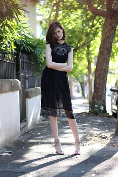 BYCHILL Chloe Hill In Forever New lace dress, Topshop lace Midi Skirt, Camilla Skovgaard beige heels