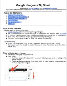 A Must Have Google Hangout Tip Sheet for Teachers ~ Educational Technology and Mobile Learning