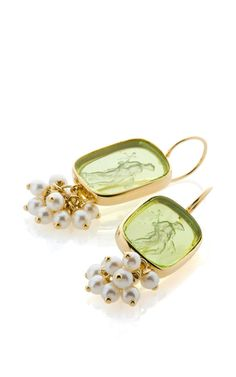 18K Yellow Gold Small Pearls And Light Green Venetian Glass Earrings by Bahina for Preorder on Moda Operandi
