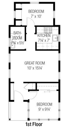 Cottage Style House Plan - 2 Beds 1 Baths 557 Sq/Ft Plan #915-16 Floor Plan - Main Floor Plan - Houseplans.com