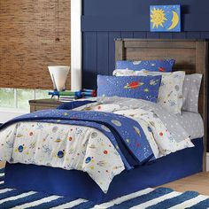 High quality digital print Percale woven with single ply yarns for a crisp, breathable fabric 100% Soft cotton percale Comforter Comforter set, 1 Comforter, 1 Standard Sham and 1 Bed Skirt, #kidsbedding #kidsroom #blueandwhitebedding #bedding #forkids #afflnk