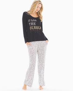 XL L HUE Women/'s Pajama Top OR PAJAMA PANTS Keyhole-Back Long Sleeve  S