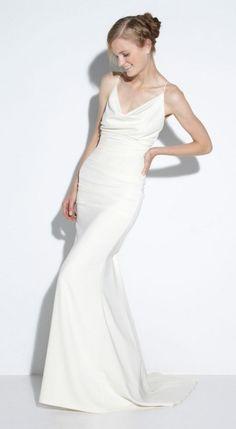 Resultado de imagem para minimalist straps wedding dress