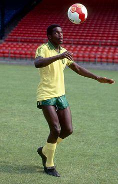 27 July 1979 - Justin Fashanu of Norwich City. Classic Football Shirts, Retro Football, World Football, Football Kits, Vintage Football, Football Jerseys, Football Players, Leyton Orient Fc, Norwich City Fc