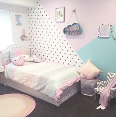 cute and girly bedroom decorating tips for girl 18 ~ mantulgan.me cute and girly bedroom decorating. Girls Bedroom Wallpaper, Girls Bedroom Colors, Girl Bedroom Designs, Purple Teal Bedroom, Girls Room Design, Baby Bedroom, Kids Bedroom, Bedroom Ideas, Nursery Room
