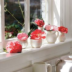 Camellia Windowsill | Common camellia (Camellia japonica) is the queen of the Southern winter garden, with big, luscious blooms. Camellia's heavy flowers like a little support and work best floating in shallow bowls or displayed in short, heavy vases or pitchers. | SouthernLiving.com