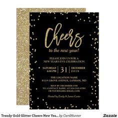 trendy gold glitter cheers new years eve party invitation
