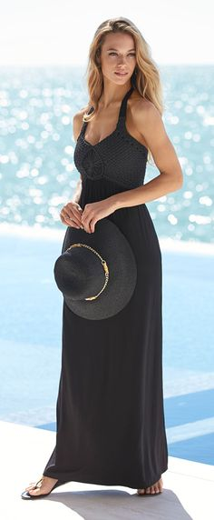 Signature style: the artfully braided detail on this black halter dress.  @  Soma   Summer   @ Clay Terrace