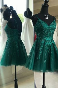 short green sleeveless spaghetti-straps homecoming dress,applique tulle v-neck school event dress