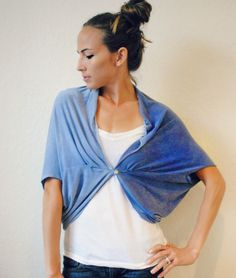DIY Convertible Shawl/Shrug -- use old t-shirts and hand dye for cool colors and ombre pattern