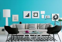 The furniture and decor is a little too cool for me (although I adore black and white rooms), but I am wild about this wall color.