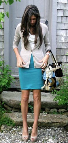 monday blues work outfit. Aqua pencil skirt, white tee, tan cardigan and belted